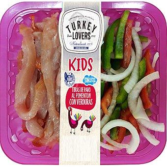 TURKEY LOVERS Kids tiras de pavo al pimentón con verduras sin gluten y sin lactosa bandeja 200 g bandeja 200 g