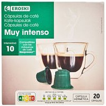 Eroski Café muy intenso Caja 20 monodosis