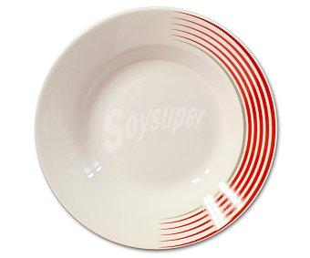 GSMD Plato hondo modelo Line, fabricado en porcelana de color blanco con líneas rojas y diseño redondo 1 Unidad