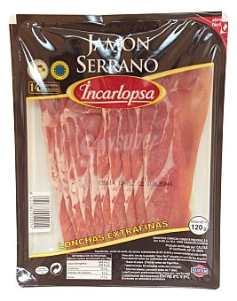Incarlopsa Jamon curado lonchas extra fino Paquete 120 g