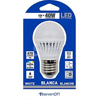SEVENON 5 W (40 W) lampara LED esferica mate luz blanca casquillo E27