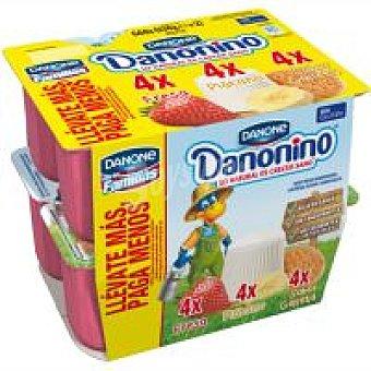 Danonino Danone Danonino fresa-plátano-galleta Pack 12x55 g