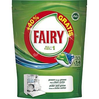 Fairy Detergente lavavajillas todo en 1 original Envase 33 pastillas + 14 gratis