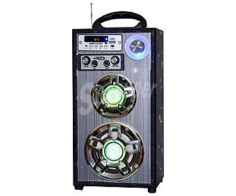 Pentafilm IC-SS10 Altavoz portátil por batería, potencia 12 Watios, bluetooth, sintonizador de radio FM, lector de tarjetas SD, USB reproductor, conector auxiliar JACK 3.5mm, función KARAOKE