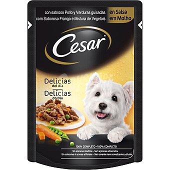 CESAR Delicias en salsa con pollo y verduras asadas para perro  Envase de 100 g