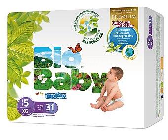 BIO BABY Pañal Ecológico 12-16 kg Talla 5 Paquete 31 unid