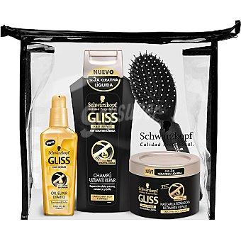 Gliss Schwarzkopf Pack Ultimate Repair con champu + mascarilla tarro 200 ml + aceite reparador spray 75 ml + cepillo del pelo + neceser Frasco 300 ml