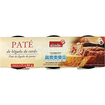 Aliada Paté de hígado de cerdo Pack 3 latas 80 g