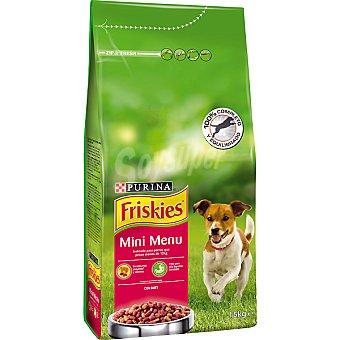 Friskies Purina Alimento para perros con buey de raza pequeña Mini Menu Paquete 1,5 kg
