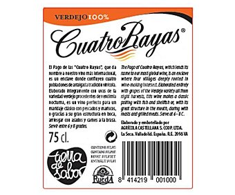 Cuatro Rayas Vino Blanco Verdejo, Rueda D.O. Botella 75 cl