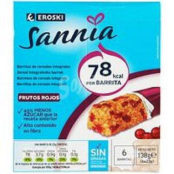 Eroski Sannia Barritas de cereal-fr. rojos 6 unid
