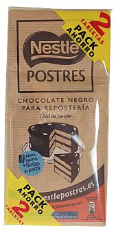 Postres Nestlé Chocolate fundir postres Tableta pack 2