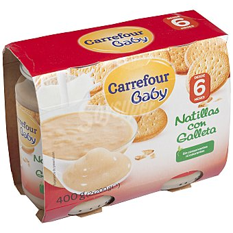 Carrefour Baby Tarrito natillas con galleta Pack 2x200 g