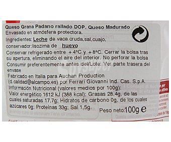 Auchan Queso rallado grana padano 100 gramos