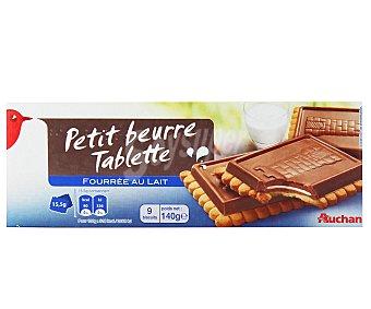 Auchan Galleta con tableta de chocolate con leche con relleno de leche 140 gramos