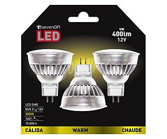SEVENON Focos led dicroicos de 5 Watios con casquillo GU10, luz cálida 3 unidades