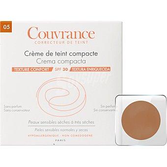 Avène Couvrance Crema compacta SPF30 textura enriquecida sin perfume polvera para pieles sensibles normales y secas color Bronceado 05 9,5 g