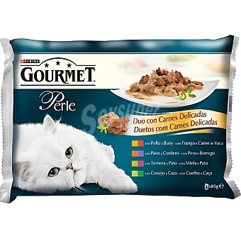 GOURMET PERLE Duo con carnes delicadas para gato  4 unidades (85 g)