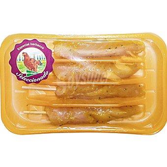 El Corte Inglés Pincho de solomillo al curry de pollo de corral Bandeja de 280 g peso aproximado