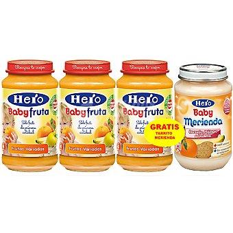 HERO BABY tarritos frutas variadas estuche 950 g + HERO BABY MERIENDA tarrito de frutas 200g pack 3x250g