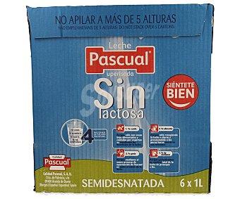 Pascual Leche semidesnatada sin lactosa 6 unidades de 1 litro
