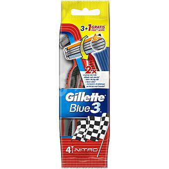 GILLETTE Blue 3 maquinillas de afeitar desechables  bolsa 3 unidades + 1 gratis