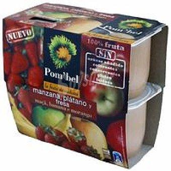 POM'BEL Puré de manzana-fresa-plátano Pack 4x100 g