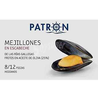 Patrón Mejillones en escabeche de las rías gallegas 8-12 piezas Lata 69 g neto escurrido