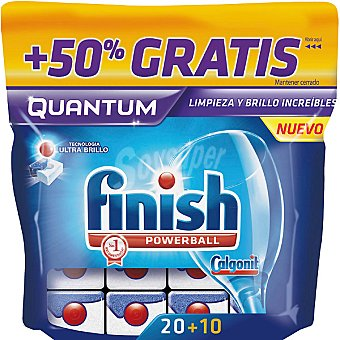 Finish Detergente lavavajillas Power Ball Quantum Caja 20 pastillas