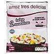 Arroz tres delicias con tortilla y gambas congelado (incluye 2 sazonadores) Paquete 1 kg Hacendado