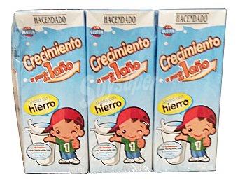 HACENDADO Preparado lácteo crecimiento cacao y cereales a partir de 1 años 6 unidades de 200 ml