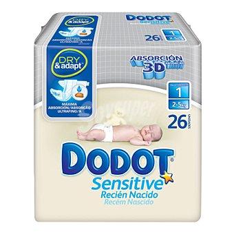 Dodot Sensitive Pañal para recién nacido Sensitive / Talla 1 (2-5kg) 26 unidades