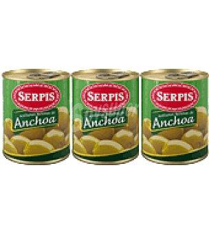 Serpis Aceituna Rellena anchoa pack de 3x50 g