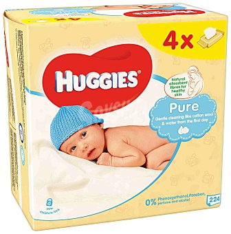 HUGGIES Toallitas pure para recién nacidos 4 paquetes de 56 unidades