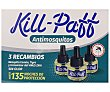 Insecticida elèctrico , 3 recambios 3 x 33 ml Kill-Paff