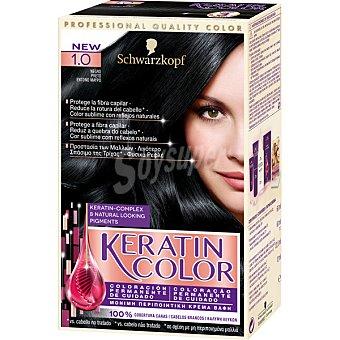 Keratin Color Schwarzkopf Tinte nº 1.0 negro coloración permanente de cuidado Caja 1 unidad