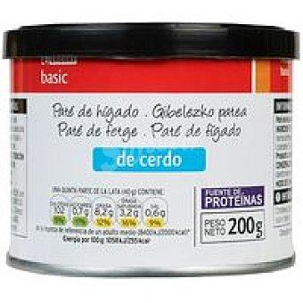 Eroski Basic Paté de hígado de cerdo Lata 200 g