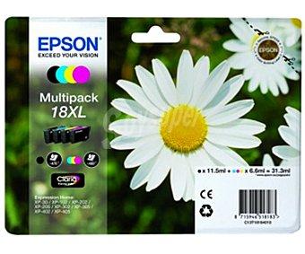 Epson Pack de 4 cartuchos de tinta negro, cian, magenta y amarillo 18XL Multipack