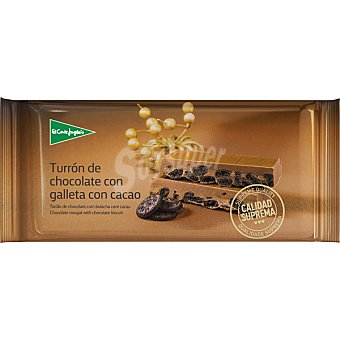 El Corte Inglés Turrón de chocolate con galleta con cacao Calidad Suprema Tableta 250 g