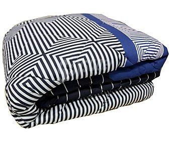 AUCHAN Edredón estampado tempo color azul para cama individual, 180x260 Centímetros 1 Unidad