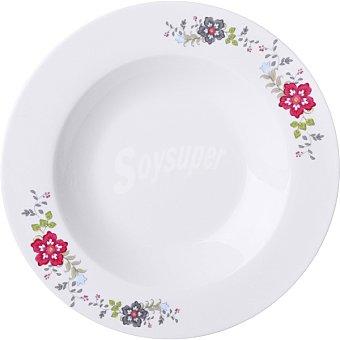 Unit Meda plato hondo 215 cm blanco con flores