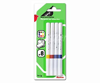 Auchan Lote de 8 rotuladores borrables de colores diferentes para pizarras blancas 1 unidad