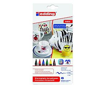 Edding Lote de 6 marcadores permanente para decorar porcelana, con punta de pincel con grosor de trazo de 1 a 4 milímetros y de colores negro, rojo, azul, verde, amarillo, lila 1 unidad