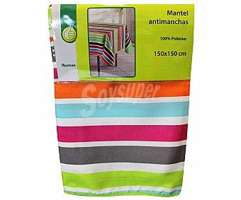 Productos Económicos Alcampo Mantel antimanchas estampado 100% poliéster, color rojo, 150x150 centímetros 1 Unidad