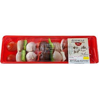 GURMESA Brochetas artesanas de pollo y embutido 2 unidades bandeja 295 g 2 unidades