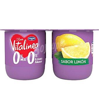 Vitalínea Danone Yogur desnatado 0% materia grasa sabor limón Pack 4 u x 125 g