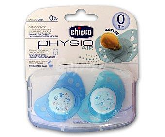 Chicco Chupete physio air de caucho y color azul +0m 2 unidades
