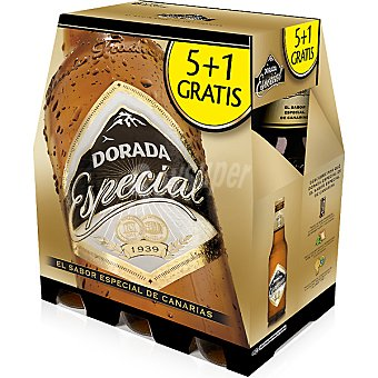 Dorada Cerveza rubia especial pack 5 botellas 25 cl + 1 botella gratis Pack 5 botellas 25 cl