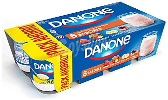 Danone Yogur sabores 2 plátano + 2 macedonia + 2 fresa + 2 tarta de queso 8 unidades de 125 g
