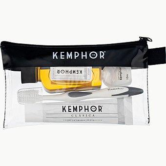 Kemphor Neceser con pasta dentífrica fluorada + cepillo de dientes + seda dental + enjuague bucal Frasco 50 ml